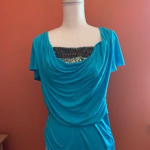 Turquoise beaded blouse. Like new!!